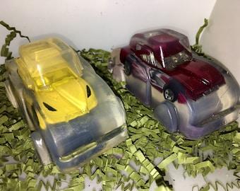 Car soap bar, car inside soap, kids soap bar, matchbox car, unscented clear soap bar, car shaped soap with toy inside, bubblegum scented