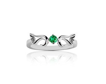 May - Emerald  Guardian Angel Protection Ring