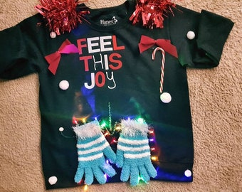 d54e1bca1a Feel this Joy Ugly Christmas Sweater Sweatshirts Women Funny Naughty Fun.  with 18 lights