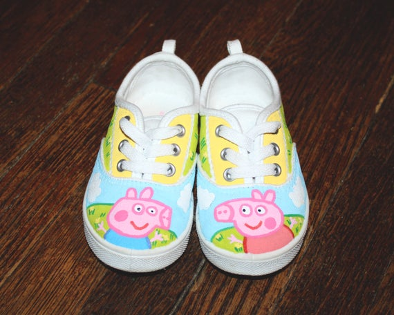 Peppa Pig and George inspired Handpainted kids shoes Ready to ship in SIZES 4, 6, 8, 9