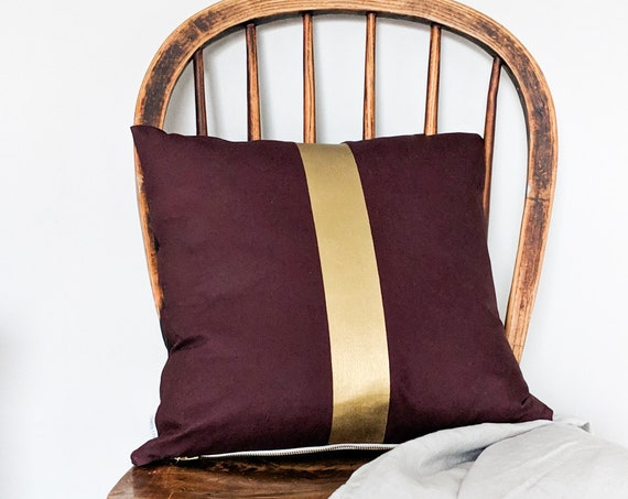 Hand painted burgundy red and gold cushion