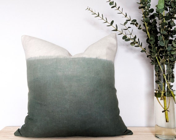 Linen ombre cushion in forest green and natural