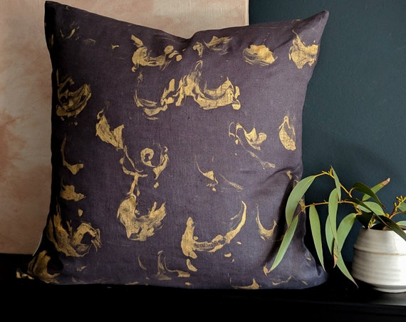 Linen gold and charcoal grey hand painted cushion