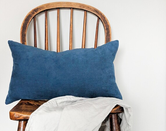 Blue corduroy and charcoal grey linen reversible cushion with gold zip