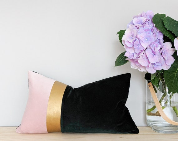 Pink, gold and dark green velvet panel cushion / throw pillow