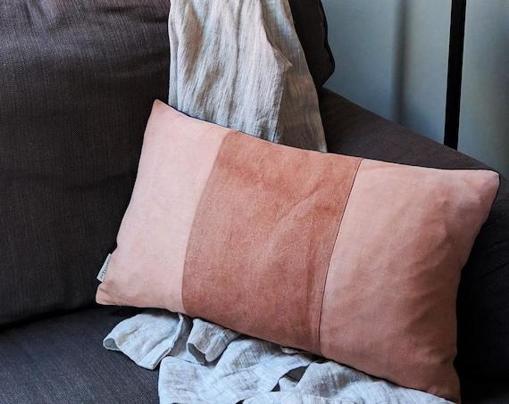 Avocado dyed panel linen cushion.