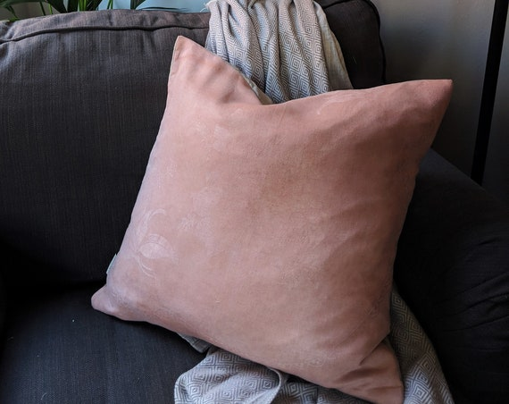 Hand dyed vintage damask linen cushion - natural plant dye