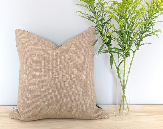Thick woven linen cushion in hessian beige and charcoal