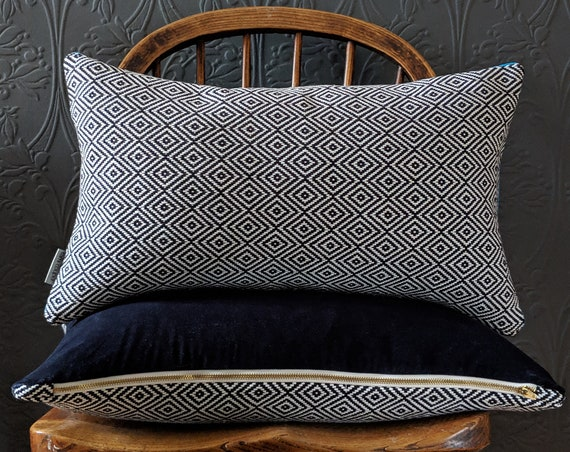Reversible navy velvet and Moroccan print cushion / throw pillow