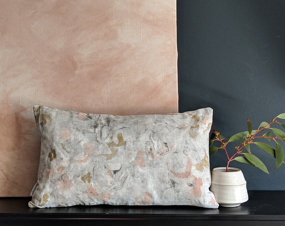 Linen hand painted marble cushion throw pillow in  pink, gold and grey.