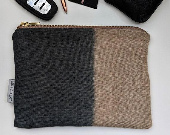Ombre dip dye linen purse.