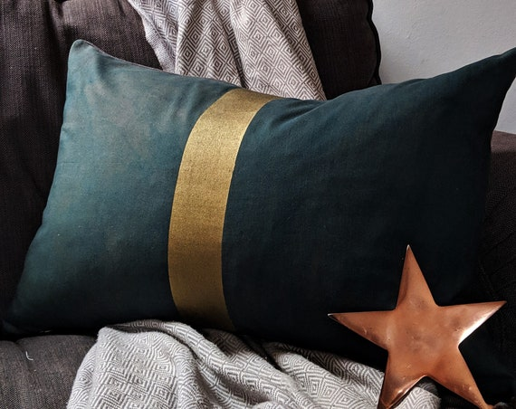 Hand painted deep green and gold cushion throw pillow - limited edition