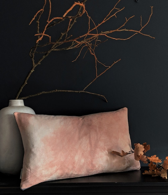 Avocado dyed pink linen cushion with grey velvet reverse