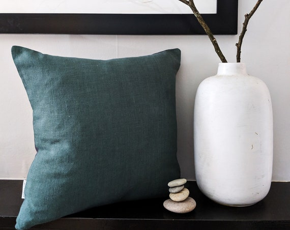 Deep green and charcoal grey linen cushion with gold zip