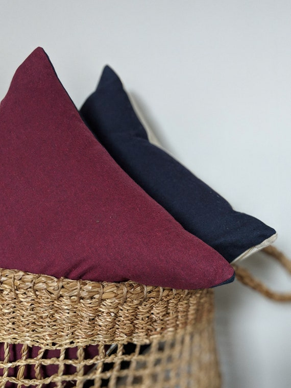 Wool and linen reversible cushion deep burgundy and navy / throw pillow