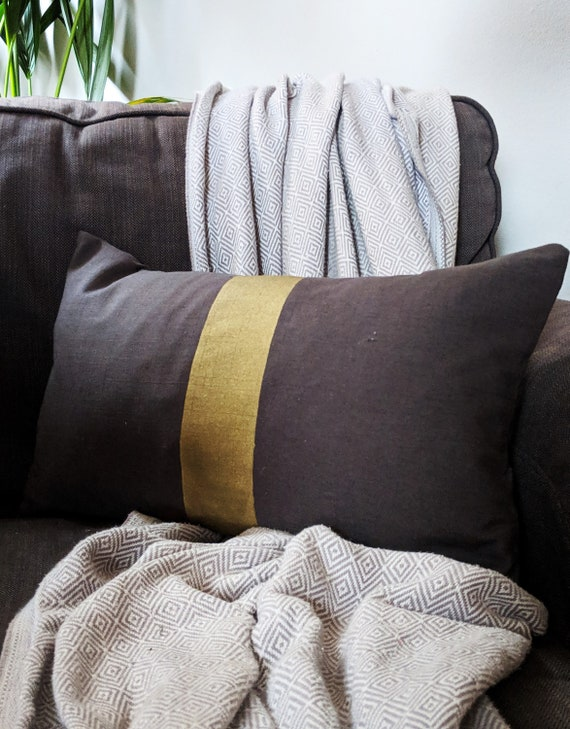 Hand painted grey and gold cushion throw pillow