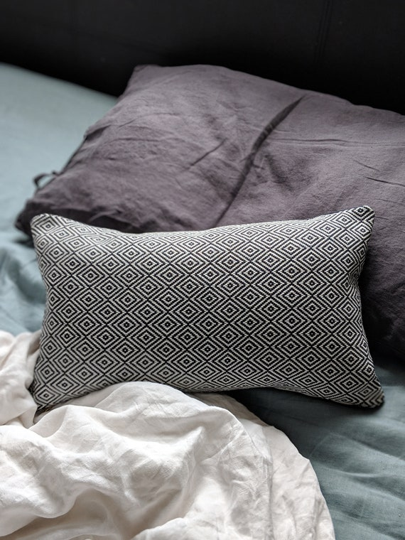 Reversible grey velvet and Moroccan print cushion