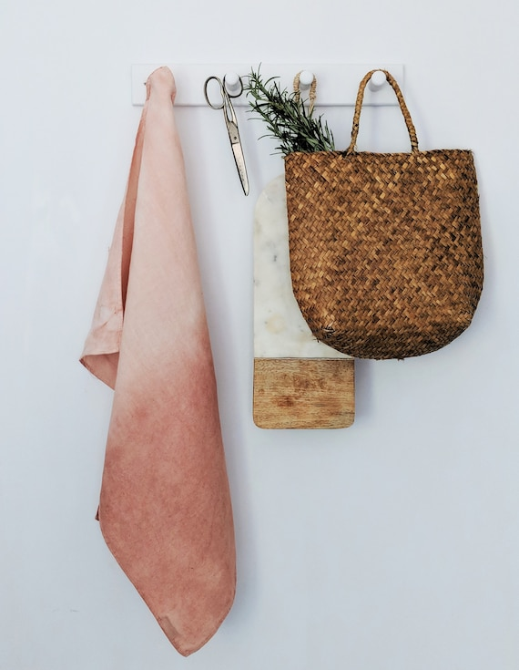 Hand dyed avocado blush pink linen tea towel.