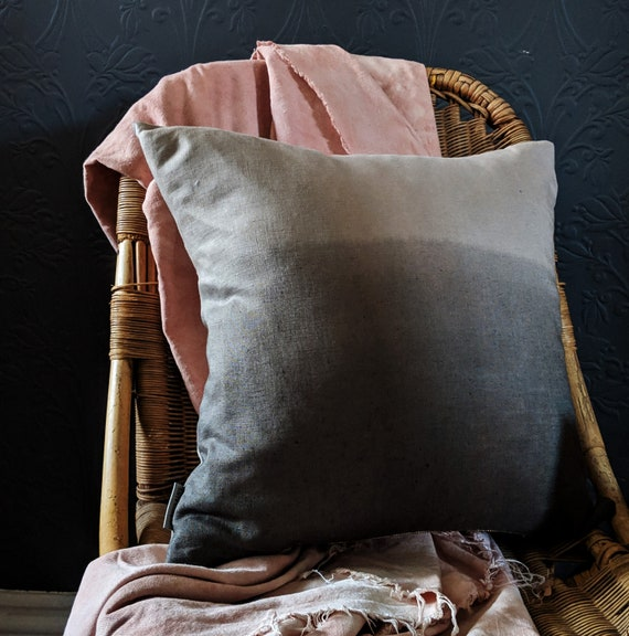 Linen ombre cushion - Eucalyptus grey green and beige