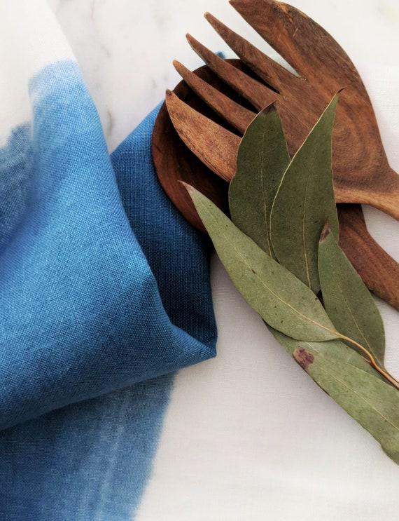 Hand dyed indigo linen tea towel.