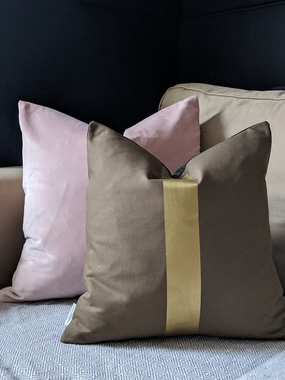Hand painted khaki green and gold cushion