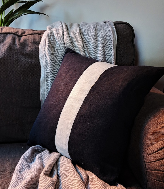 Hand painted linen stripe navy cushion