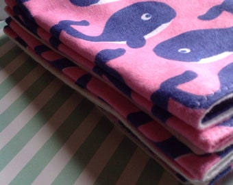 Handcrafted flannel burp cloths *whales*