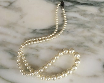 Pearl Necklace Colar Multistrand Layered Choker Fashion Vintage 1950/'sJewelry round Pearl Beads Wedding Birthday Gift for Her Aleks Jewelry