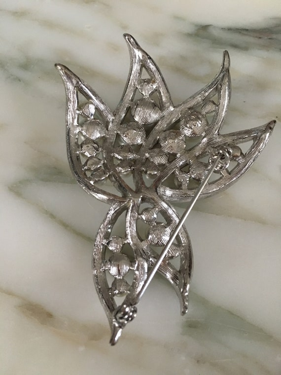 Pearl crystal Brooch, Rhinestone Pearl pin, leaf … - image 6