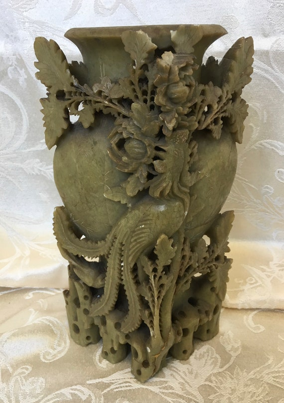 Hand Carved Asian Soap Stone Brush Pot or Inkwell Asian Art Carving Vintage Chinese Soapstone Vase Vintage Asian Decor