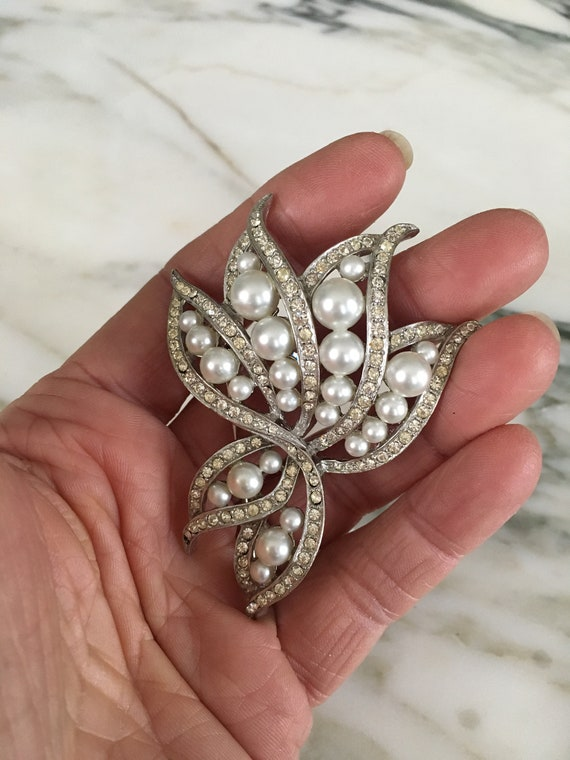Pearl crystal Brooch, Rhinestone Pearl pin, leaf … - image 5