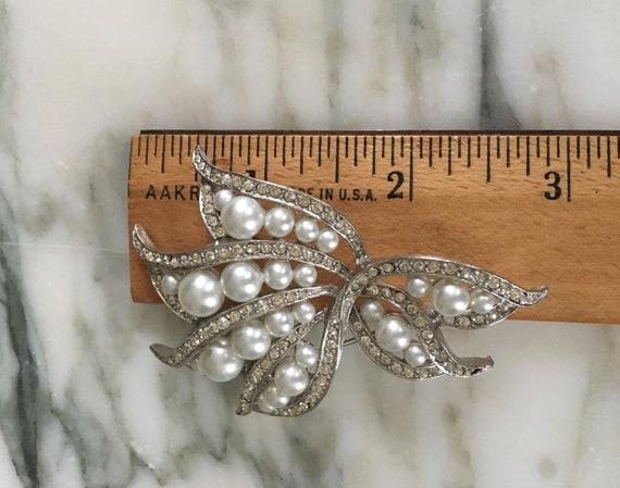 Pearl crystal Brooch, Rhinestone Pearl pin, leaf … - image 4