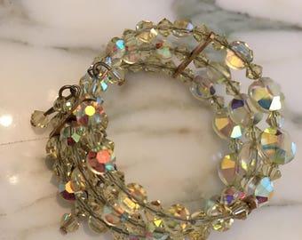 Antique Crystal  Bracelet, Vintage Yellow AB Cuff Bracelet, Aurora Borealis Wire Expandable Cuff, Antique Costume Jewelry Bracelet