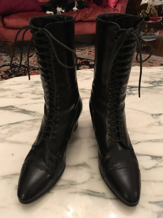 Ralph Lauren Black Leather Granny Boots, Lace up G