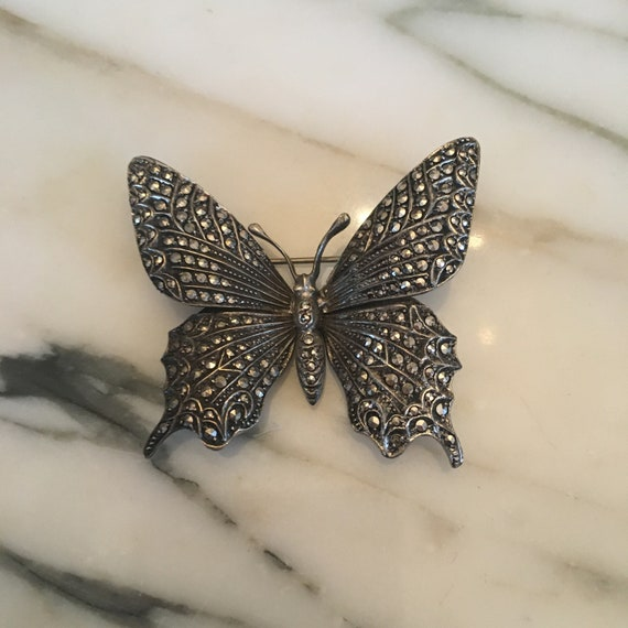 Sterling Silver Marcasite Butterfly Brooch, Vintag