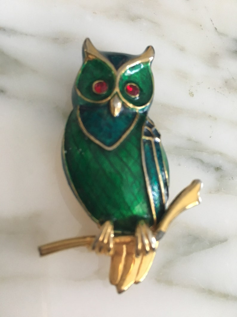 Colorful bird Pin Owl lover jewelry Bird lover Jewelry Owl brooch Boucher bird Pin Signed Boucher Boucher Owl brooch