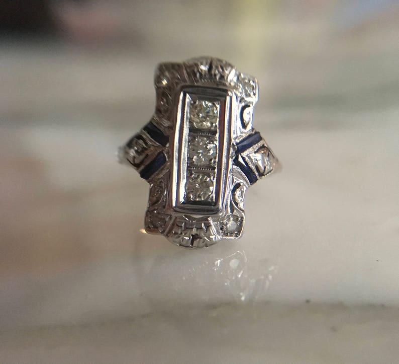 d473f3d0b2e25 Art Deco Antique Diamond Ring, 14K Filigree White Gold Cocktail Ring,  Diamond Sapphire Vintage Estate Ring 1920's Size 6 1/4