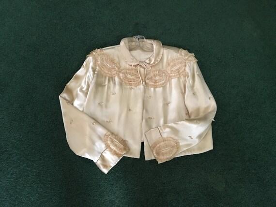 Vintage silk Bedjacket, Pink bed jacket, 1940's Sa
