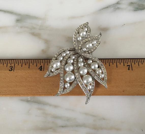 Pearl crystal Brooch, Rhinestone Pearl pin, leaf … - image 9