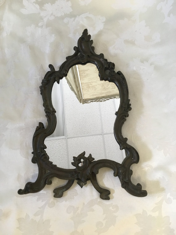 Art Nouveau Table Top Mirror Brass Ornate Mirror Baroque Etsy