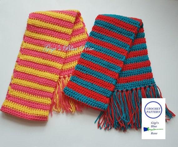 Crochet Patterncrochet Stripe Scarf With Fringe Patternpdf Etsy