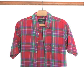 Vintage HUNT CLUB Authentic India Madras Plaid Short Sleeve Button Front  Shirt 436cfdf7b2