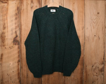 Sz. L | Vintage REI Green 100% Virgin Wool Crewneck Sweater