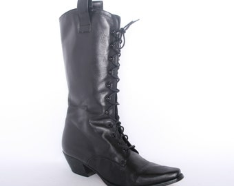 545f761b1a Women's 9 | Vintage CHARLES DAVID Black Leather Steampunk Granny Boots