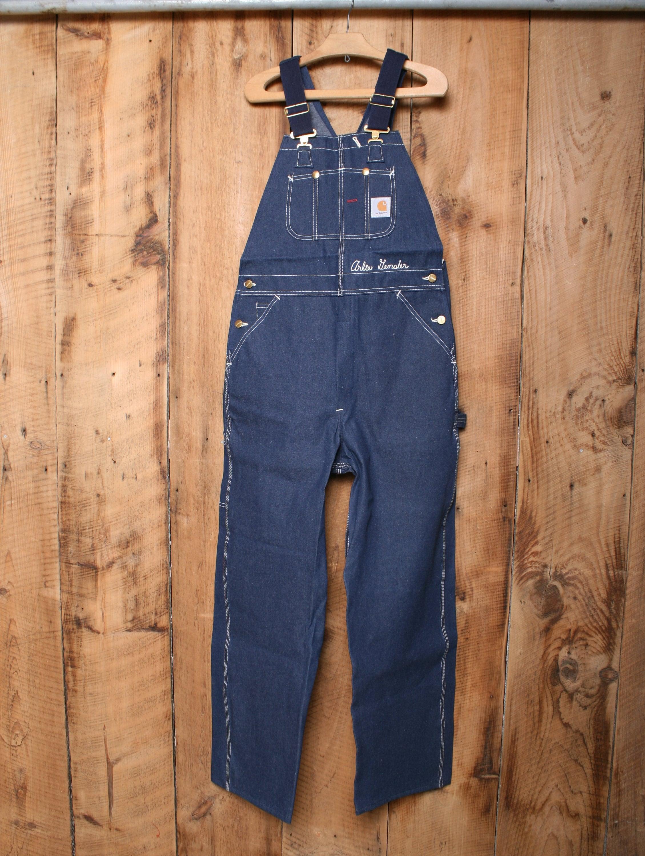 Vintage Overalls & Jumpsuits Sz. 34x32  Vintage Carhartt Blue Denim Overalls WSuspender Straps Embroidered Arlie Gensler Name - Union Made in Usa $0.00 AT vintagedancer.com