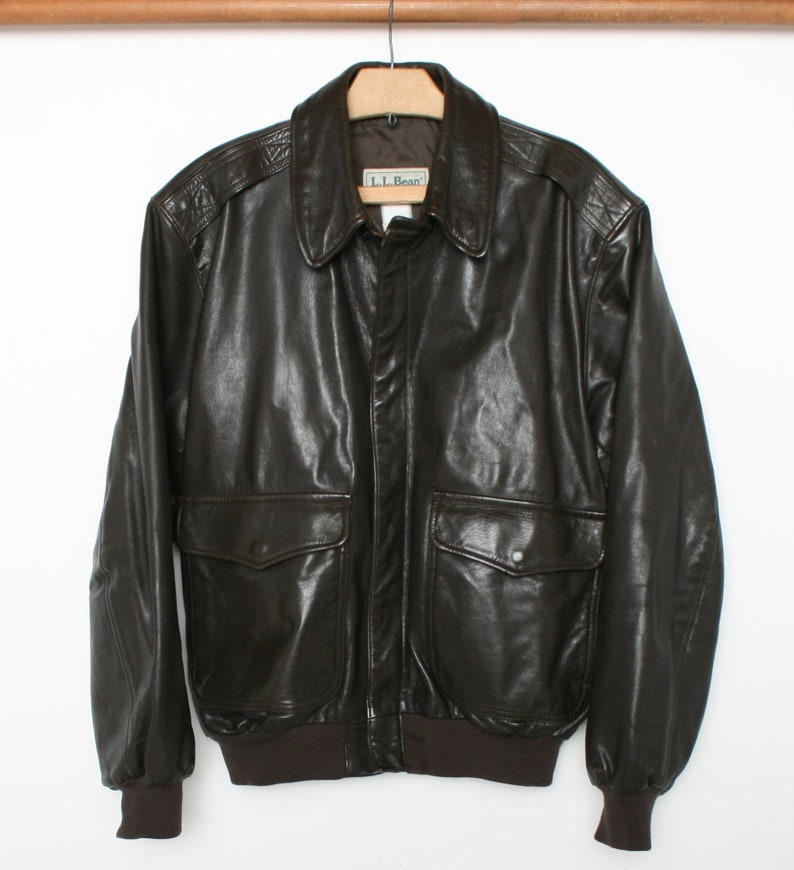 aa94cc58b Men's L | Vintage L.L. BEAN Brown Leather A-2 Style Military Flight Bomber  Jacket