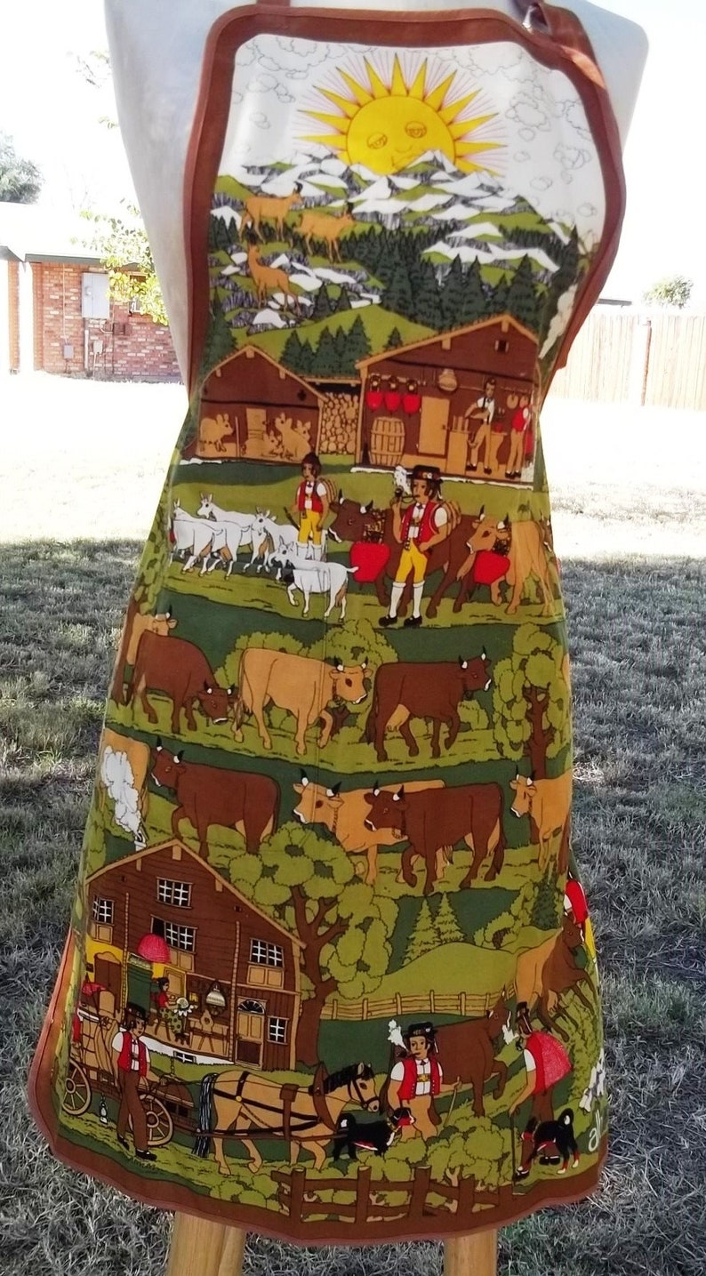 Vintage Swiss Souvenir Apron Appenzell Cows Early Morning Ascent Procession To Alpine Pastures Led By Goats 1970s Alba Screen Print
