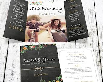 Bespoke Floral Chalkboard Wedding Invitation With Photo