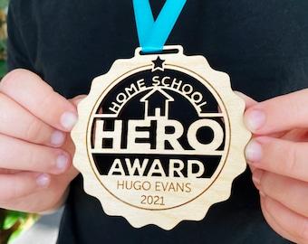 Personalised Home School Hero Medal, wooden homeschool award, homeschool medal, sustainable gift, homeschool gift, lockdown medal, keepsake