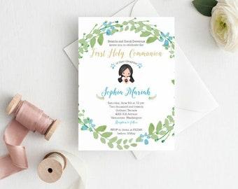 Girl First Communion Invitation, Printable, 1st Communion Invite, Girl Baptism, Christening, Naming Ceremony, Dedication